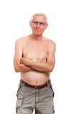 Shirtless senior man portrait. Portrait of happy shirtless senior man, isolated on white background Stock Photo