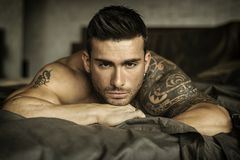 Shirtless male model lying alone on his bed. Shirtless muscular male model lying alone on bed in his bedroom, looking at camera with a seductive attitude stock photos