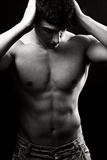 Shirtless spiermens Stock Foto's