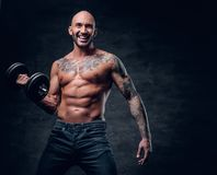 Shirtless shaved head, muscular male with tattoos on his chest a. Brutal shirtless shaved head, muscular male with tattoos on his chest and arms holds dumbbell royalty free stock photography