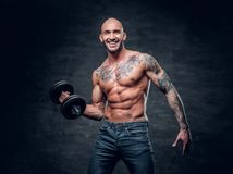 Shirtless shaved head, muscular male with tattoos on his chest a. Brutal shirtless shaved head, muscular male with tattoos on his chest and arms holds dumbbell royalty free stock photo
