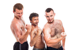 Shirtless sportsmen posing Royalty Free Stock Image