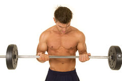 Shirtless strong man barbell curl Royalty Free Stock Photography