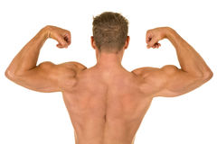 Shirtless strong man flex back Stock Image