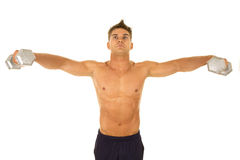Shirtless strong man front fly Royalty Free Stock Images