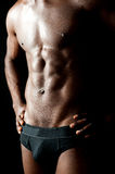 Shirtless underwear male model posing in style. Hands on waist, cropped image Royalty Free Stock Image