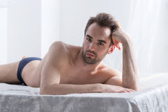 A shirtless young man Royalty Free Stock Images