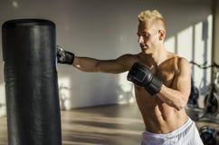 Shirtless young man using punching bag Royalty Free Stock Photos