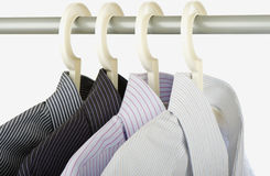 Shirts. Various business shirts hanging on hangers Royalty Free Stock Photo