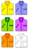 Colorful set of shirts. A collection of short sleeve shirts stock illustration