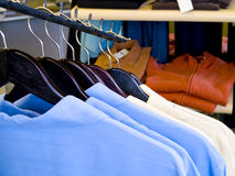 Shirts. A close up on mens shirts on the rack in a store Royalty Free Stock Photo