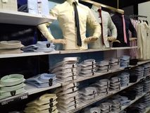 Shirts arranged in a row Royalty Free Stock Photography