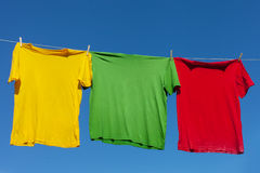 Shirts on clothesline. Stock Photo