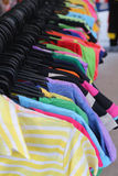 Shirts fashion in hanging on a clothesline. Stock Photo