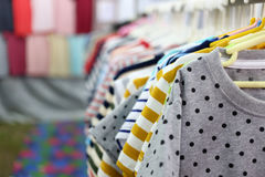Shirts fashion in hanging on a clothesline. Stock Image
