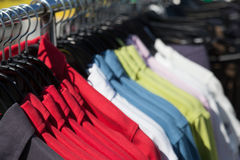 Shirts on hanger at shop Stock Image