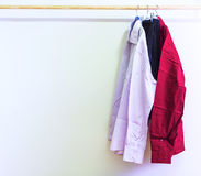 Shirts hanging on hangers Royalty Free Stock Photography