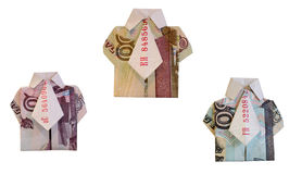 Shirts made of money. Three shirts made of banknotes of 50, 100 and 500 rubles Stock Image