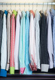 Shirts. man shirts on hangers Stock Photos
