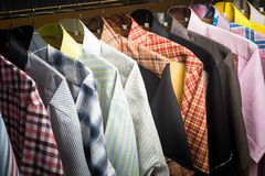 Shirts. man shirts on hangers Royalty Free Stock Image