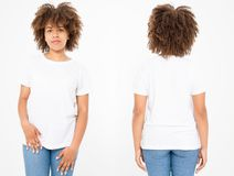 Shirts set. Summer t shirt design and close up of young afro american woman in blank template white t-shirt. Mock up. Copy space. Curly hair. front and back stock photo