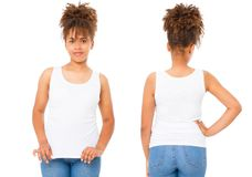 Shirts set. Summer t shirt design and close up of young afro american woman in blank template white t-shirt. Mock up. Copy space. Curly hair. front and back royalty free stock photography