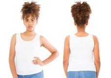 Shirts set. Summer t shirt design and close up of young afro american woman in blank template white t-shirt. Mock up. Copy space. royalty free stock photography