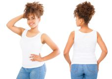 Shirts set. Summer t shirt design and close up of young afro american woman in blank template white t-shirt. Mock up. Copy space. Curly hair. front and back royalty free stock images