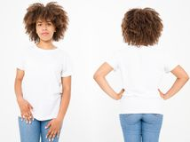 Shirts set. Summer t shirt design and close up of young afro american woman in blank template white t-shirt. Mock up. Copy space. Curly hair. front and back royalty free stock image