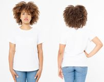 Shirts set. Summer t shirt design and close up of young afro american woman in blank template white t-shirt. Mock up. Copy space. royalty free stock photo