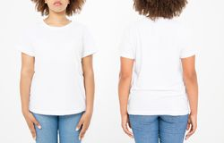 Shirts set. Summer t shirt design and close up of young afro american woman in blank template white t-shirt. Mock up. Copy space. Curly hair. front and back stock image