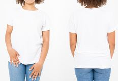Shirts set. Summer t shirt design and close up of young afro american woman in blank template white t-shirt. Mock up. Copy space. Curly hair. front and back royalty free stock photos