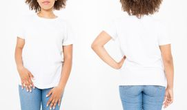 Shirts set. Summer t shirt design and close up of young afro american woman in blank template white t-shirt. Mock up. Copy space. Curly hair. front and back royalty free stock photo