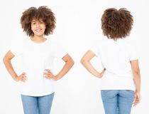 Shirts set. Summer t shirt design and close up of young afro american woman in blank template white t-shirt. Mock up. Copy space. Curly hair. front and back stock photos