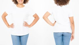 Shirts set. Summer t shirt design and close up of young afro american woman in blank template white t-shirt. Mock up. Copy space. Curly hair. front and back stock photography
