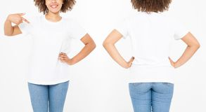 Shirts set. Summer t shirt design and close up young afro american woman pointing on blank template white t-shirt. Mock up. Copy. Space. Curly hair. front and stock images