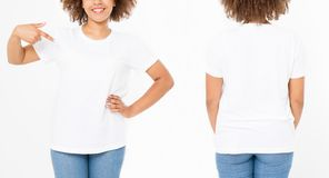 Shirts set. Summer t shirt design and close up young afro american woman pointing on blank template white t-shirt. Mock up. Copy. Space. Curly hair. front and stock image