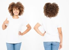 Shirts set. Summer t shirt design and close up of young afro american woman showing big thumb up in blank template white t-shirt. Mock up. Copy space. Curly royalty free stock images