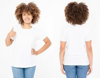Shirts set. Summer t shirt design and close up of young afro american woman showing big thumb up in blank template white t-shirt. Mock up. Copy space. Curly royalty free stock photo