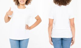 Shirts set. Summer t shirt design and close up of young afro american woman showing big thumb up in blank template white t-shirt. Mock up. Copy space. Curly royalty free stock image