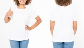 Shirts set. Summer t shirt design and close up of young afro american woman showing big thumb up in blank template white t-shirt. Mock up. Copy space. Curly royalty free stock photos