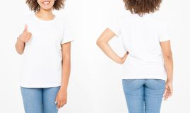 Shirts set. Summer t shirt design and close up of young afro american woman showing big thumb up in blank template white t-shirt. Mock up. Copy space. Curly stock photo