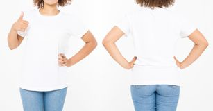 Shirts set. Summer t shirt design and close up of young afro american woman showing big thumb up in blank template white t-shirt. Mock up. Copy space. Curly stock photography