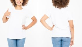 Shirts set. Summer t shirt design and close up of young afro american woman showing big thumb up in blank template white t-shirt. Mock up. Copy space. Curly royalty free stock photography