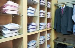 Shirts in a shop Royalty Free Stock Images