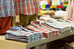 Shirts in shop Stock Photo