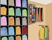 Shirts in store vector Royalty Free Stock Images