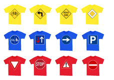 Shirts with traffic signs. Collection of shirts with short sleeves and traffic signs Stock Photography