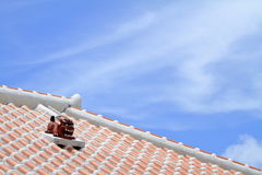 Shisa guardian from Kingdom of Ryukyu on the roof in Okinawa. Japan Royalty Free Stock Image