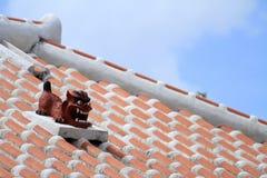 Shisa guardian from Kingdom of Ryukyu on the roof in Okinawa. Japan Royalty Free Stock Photo